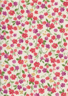 Sevenberry Japanese Fabric - Printed Twill Cottage Garden White