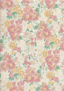 Sevenberry Japanese Fabric - Printed Twill Floral Boquet White