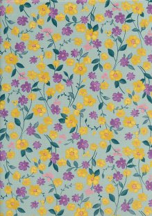 Sevenberry Japanese Fabric - Printed Twill Cottage Garden Turquoise