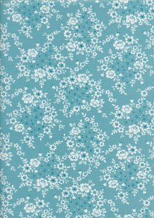 Sevenberry Japanese Fabric - Printed Twill Trellis Turquoise