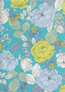 Sevenberry Japanese Fabric - Printed Twill Ragged Rose Turquoise