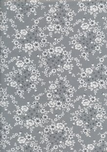 Sevenberry Japanese Fabric - Printed Twill Trellis Grey