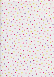 Sevenberry Japanese Fabric - Printed Twill Multi Dot Pink Purple, Yellow, Orange