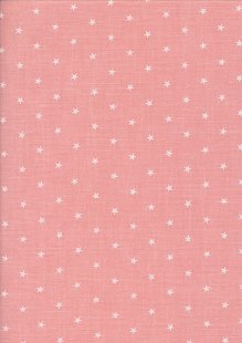 Sevenberry Japanese Fabric - Linen Look Cotton Starlight Salmon Pink