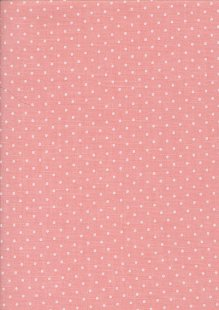 Sevenberry Japanese Fabric - Linen Look Cotton Polkadot Salmon Pink