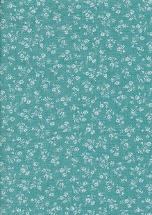 Sevenberry Japanese Fabric - Linen Look Cotton Posy Turquoise