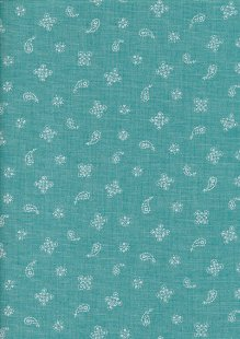 Sevenberry Japanese Fabric - Linen Look Cotton Mini Paisley Turquoise