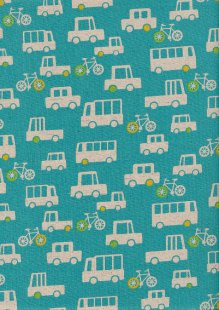 Sevenberry Japanese Fabric - Cotton Linen Mix Traffic Jam Turquoise