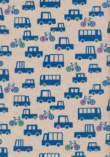 Sevenberry Japanese Fabric - Cotton Linen Mix Traffic Jam Blue