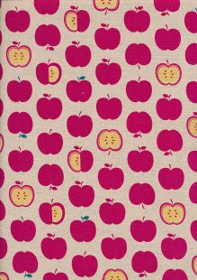 Sevenberry Japanese Fabric - Cotton Linen Mix Happy Apples Pink
