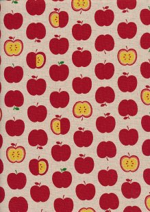 Sevenberry Japanese Fabric - Cotton Linen Mix Happy Apples Red