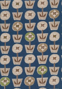 Sevenberry Japanese Fabric - Cotton Linen Mix Scandi Flower Blue