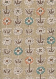 Sevenberry Japanese Fabric - Cotton Linen Mix Scandi Flower Beige