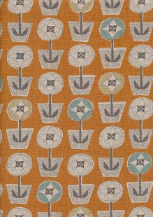 Sevenberry Japanese Fabric - Cotton Linen Mix Scandi Flower Orange