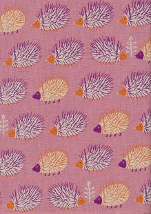 Sevenberry Japanese Fabric - Cotton Linen Mix Hoglets Pink