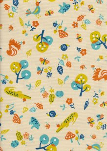Sevenberry Japanese Fabric - Cotton Linen Mix Zoo Park Turquoise, Mustard, Orange