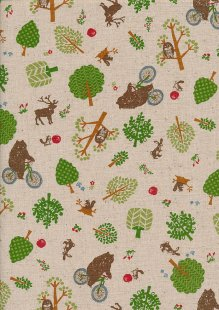 Sevenberry Japanese Fabric - Cotton Linen Mix Woodland Trail Brown, Green