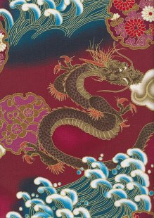 Authentic Gilded Japanese - Water Dragon Red