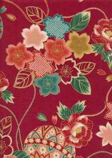 Authentic Gilded Japanese - Plum Flower Red