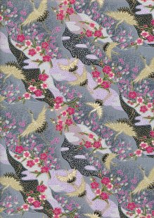 Authentic Gilded Japanese -  A Dance in Bloom Grey