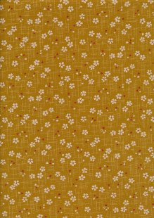 Sevenberry Japanese Fabric - Cherry Blossom Mustard