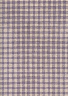 Sevenberry Japanese Fabric - Cotton Linen Mix  Gingham Print Purple