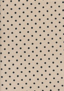 Sevenberry Japanese Fabric - Cotton Linen Mix  Spotty Black