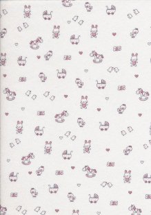 Cotton Jersey - Rocking Horses & Mice On Ivory