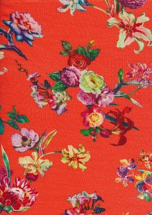 Viscose Jersey - Floral On Orange