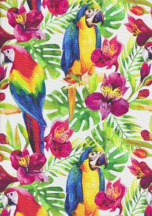 Poppy Europe Digital Cotton Canvas Print - Tropical Parrot White