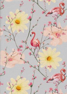 Poppy Europe Digital Cotton Canvas Print - Spring Flamingo Grey