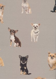 Poppy Europe Digital Cotton Canvas Print - Chiuahua Taupe