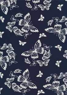 RS Textiles Viscose/Spanex Jersey - Butterfly Navy MK879