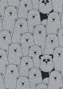 Cotton/Poly Jersey - Polar Bears Grey