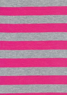 Viscose Jersey - Pink & Grey Stripe