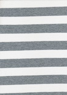 Viscose Jersey - White & Grey Stripe