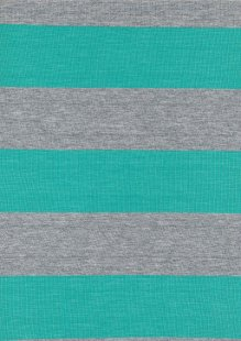 Viscose Jersey - Turquoise & Grey Stripe