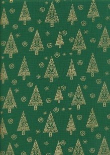John Louden Christmas Collection - Gilded Green Nordic Trees Green/Gold JLX0037