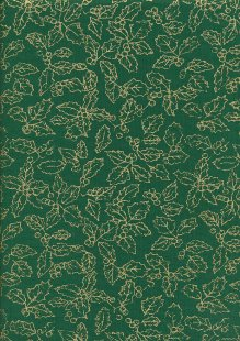John Louden Christmas Collection - Gilded Green 40046 Holly Green/Gold JLX0030