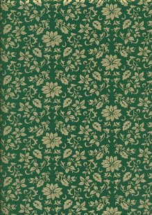 John Louden Christmas Collection - Gilded Poinsettia Green/Gold JLX0032