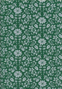 John Louden Christmas Collection - Gilded Poinsettia Green/Silver JLX0032