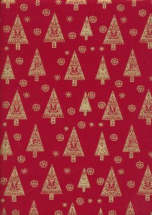 John Louden Christmas Collection - Gilded Nordic Trees Red/Gold JLX0037