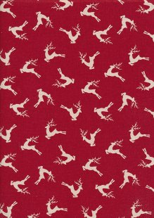 John Louden Christmas Collection - Scandi Deer Red/Natural Seeded JLX0047