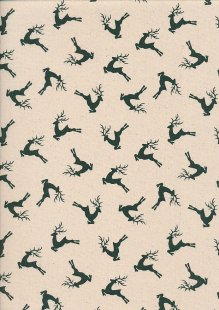 John Louden Christmas Collection - Scandi Deer Natural/Green Seeded JLX0047