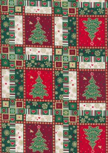 "John Louden Christmas Collection - 60"" Wide Christmas Tree Squares Red/Green"