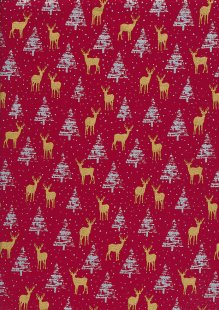 "John Louden Christmas Collection - 60"" Wide Christmas Trees & Reindeer Red"