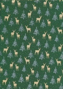 "John Louden Christmas Collection - 60"" Wide Christmas Trees & Reindeer Green"