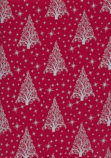 "John Louden Christmas Collection - 60"" Wide Christmas Trees Red/Silver"