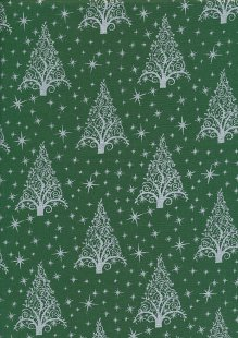 "John Louden Christmas Collection - 60"" Wide Christmas Trees Green/Silver"
