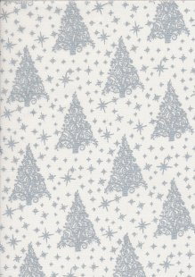"John Louden Christmas Collection - 60"" Wide Christmas Trees White/Silver"